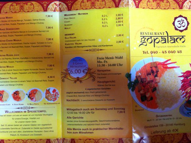 Speisekarte / Flyer vom Restaurant gopalam, Hamburg
